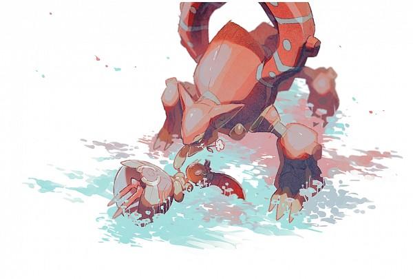 Tags: Anime, Pixiv Id 3393042, Pokémon (Anime), Pokémon the Movie: Volcanion and the Mechanical Marvel, Pokémon, Volcanion, Magearna, Legendary Pokémon, Pixiv, Fanart, Fanart From Pixiv
