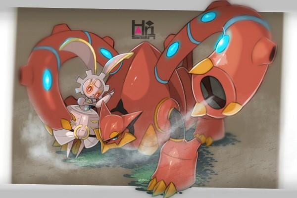 Tags: Anime, Pixiv Id 502318, Pokémon (Anime), Pokémon the Movie: Volcanion and the Mechanical Marvel, Pokémon, Volcanion, Magearna, Fanart, Fanart From Pixiv, Legendary Pokémon, Pixiv