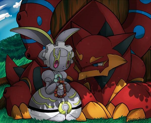 Tags: Anime, Pixiv Id 3610927, Pokémon (Anime), Pokémon the Movie: Volcanion and the Mechanical Marvel, Pokémon, Volcanion, Magearna, Legendary Pokémon, Pixiv, Fanart From Pixiv, Fanart, PNG Conversion