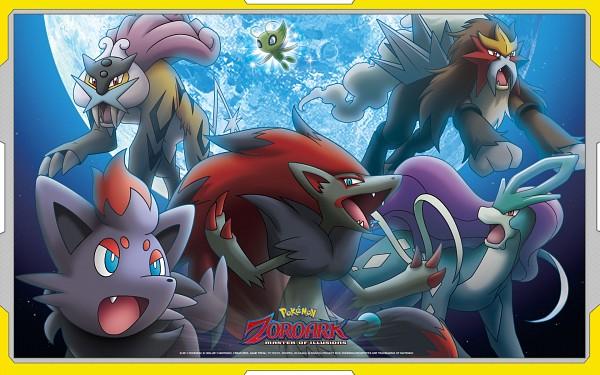 Tags: Anime, Pokémon (Anime), Pokémon the Movie: Zoroark: Master of Illusions, Pokémon, Entei, Suicune, Raikou, Zorua, Celebi, Zoroark, Wallpaper, Legendary Pokémon