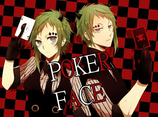 Tags: Anime, Nitaka, VOCALOID, GUMO, GUMI, Skull And Crossbones, Fanart From Pixiv, Pixiv, PNG Conversion, Poker Face, Fanart