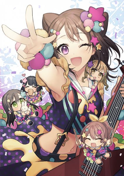 Tags: Anime, GAMBE, BanG Dream! Girls Band Party!, BanG Dream!, Yamabuki Saaya (BanG Dream!), Ushigome Rimi, Hanazono Tae, Toyama Kasumi, Ichigaya Arisa, Poppin'Party