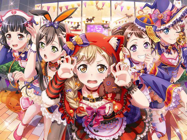 Tags: Anime, Craft Egg, BanG Dream! Girls Band Party!, BanG Dream!, Toyama Kasumi, Ichigaya Arisa, Yamabuki Saaya (BanG Dream!), Ushigome Rimi, Hanazono Tae, Official Card Illustration, Official Art, Poppin'Party