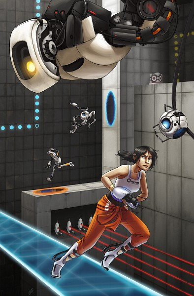 Tags: Anime, Portal (Game), P-body, Chell, ATLAS (Portal), Wheatley, Turret, GLaDOS, Portal Gun, Companion Cube, Mobile Wallpaper