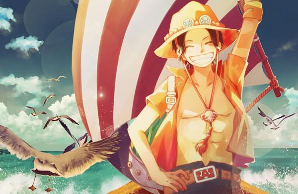 Tags: Anime, Sirius (Artist), ONE PIECE, Portgas D. Ace, Chest, Seagull, Pixiv, Fanart, Whitebeard Pirates