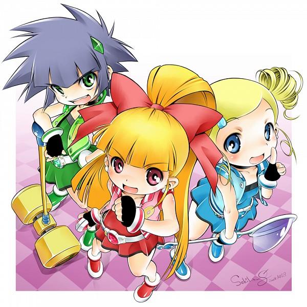 Tags: Anime, Sekihang, Power Puff Girls Z, Hyper Blossom, Matsubara Kaoru, Akatsutsumi Momoko, Goutokuji Miyako, Powered Buttercup, Rolling Bubbles, Fanart, Pixiv