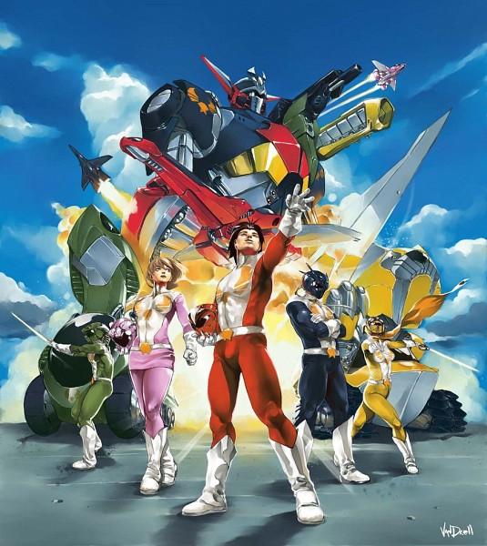 Tags: Anime, Daniel Vendrell Oduber, Power Rangers, Green Ranger (Power Rangers), Blue Ranger, Red Ranger, Pink Ranger, Yellow Ranger