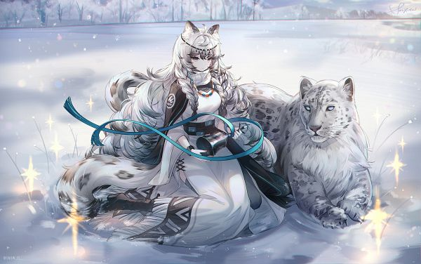 Tags: Anime, snow is, Arknights, Pramanix, Leopard, Hyoumimi, Snow Leopard, Pixiv, Fanart, Fanart From Pixiv