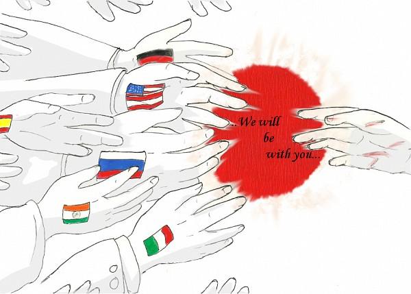 Tags: Anime, Shizuri-chan, Axis Powers: Hetalia, Flag Background, Red Sun Motif, Pray For Japan