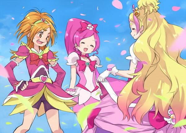 Tags: Anime, Pixiv Id 2418619, Heartcatch Precure!, Futari wa Precure Splash Star, Go! Princess Precure, Precure All Stars, Hanasaki Tsubomi, Cure Blossom, Cure Flora, Hyuuga Saki, Haruno Haruka, Cure Bloom, Curtsey