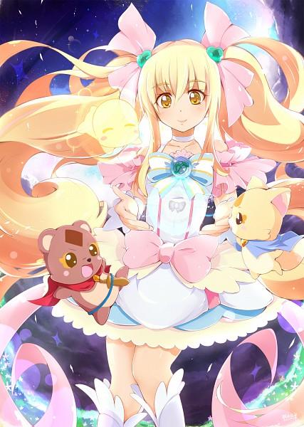 Tags: Anime, Pixiv Id 1399833, Precure All Stars, Enen, Sakagami Ayumi, Fusion, Cure Echo, Gureru, Raccoon, Fanart, Fanart From Pixiv, Mobile Wallpaper, Pixiv