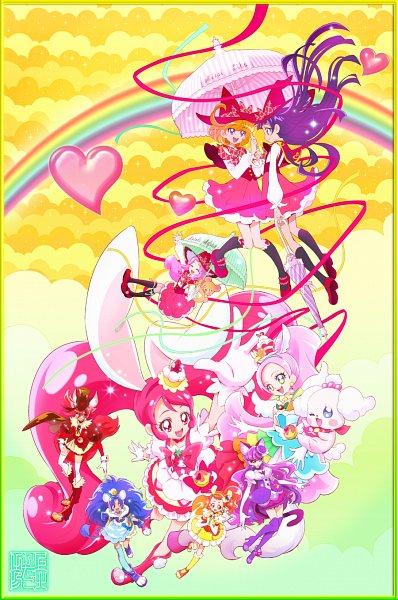 Tags: Anime, Kamikita Futago, Kirakira☆Precure a la Mode, Mahou Tsukai Precure!, Precure All Stars, Cure Gelato, Kenjou Akira, Izayoi Riko, Pekorin, Cure Custard, Tategami Aoi, Mofurun, Cure Whip