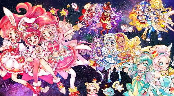 Tags: Anime, Pixiv Id 2744264, Kirakira☆Precure a la Mode, Star☆Twinkle Precure, HUGtto! Precure, Precure All Stars, Cure Milky, Pekorin, Cure Yell, Aisaki Emiru, Hagoromo Lala, Kenjou Akira, Cure Étoile