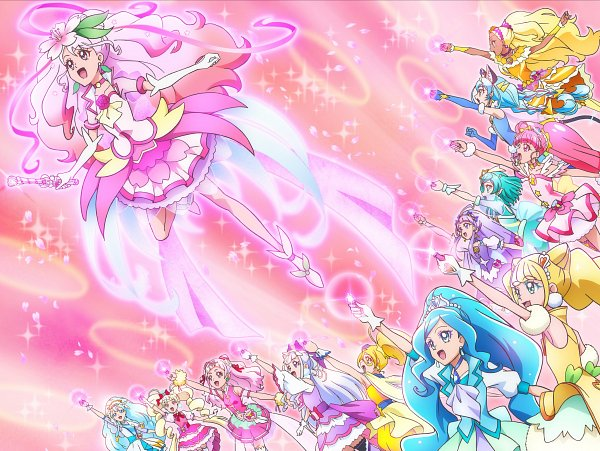 Tags: Anime, Toei Animation, Healin'Good♥Precure, Star☆Twinkle Precure, HUGtto! Precure, Precure Miracle Leap: Minna to no Fushigi na 1 Nichi, Cure Ange, Cure Milky, Aisaki Emiru, Hagoromo Lala, Sawaizumi Chiyu, Yakushiji Saaya, Cure Star
