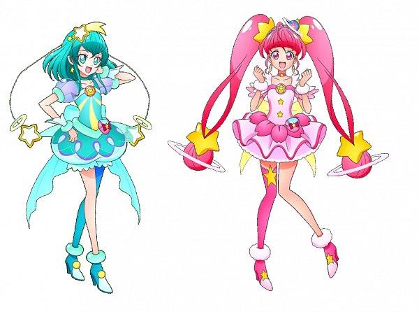 Tags: Anime, Star☆Twinkle Precure, Precure Tsunagaru Puzzlun, Hagorumo Lala, Hoshina Hikaru, Cure Milky, Cure Star, Aqua Dress, Official Art, Pretty Cure Connection Puzzlun