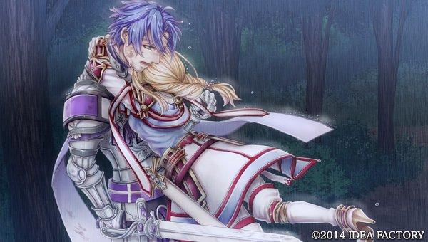 Tags: Anime, Higashi Yuuhi, IDEA FACTORY, Otomate, Princess Arthur, Lancelot (Princess Arthur), Aru (Princess Arthur), Surprise Hug, CG Art, Official Art