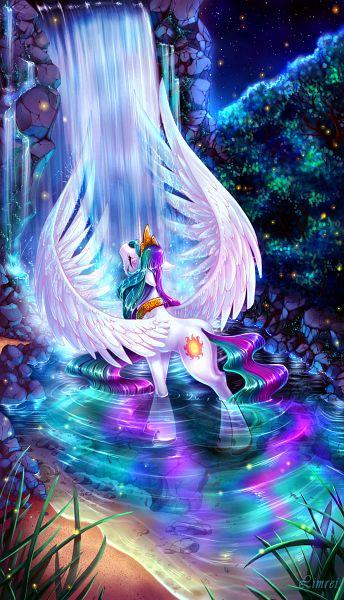 Tags: Anime, Limreiart, My Little Pony, Princess Celestia, Cutie Mark, Waterfall, Alicorn, Fanart From DeviantART, Fanart, deviantART