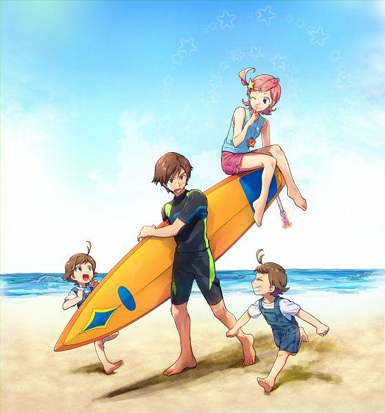 Tags: Anime, Pixiv Id 12768833, Princess Comet, Fujiyoshi Nene, Mishima Keisuke, Comet (Princess Comet), Fujiyoshi Tsuyoshi, Surfboard, Fanart, Fanart From Pixiv, Pixiv