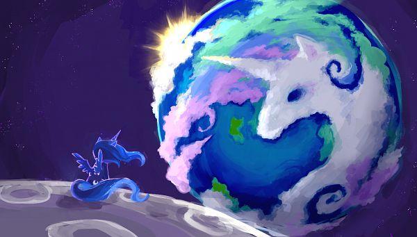 Tags: Anime, Pixiv Id 110714, My Little Pony, Princess Luna, Princess Celestia, Pegasus, Cutie Mark, Galaxy, Alicorn, Pixiv, Fanart From Pixiv, Fanart