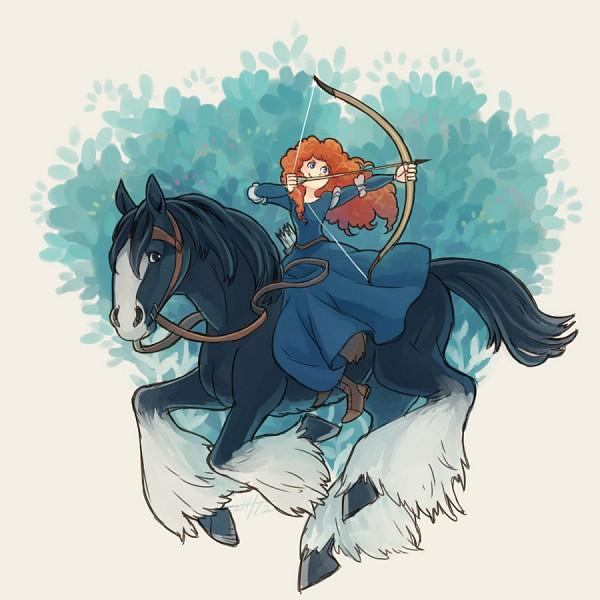 Tags: Anime, Masato Aozora, Brave (Disney), Angus (Brave), Princess Mérida, Fanart, Fanart From Pixiv, Disney, Pixiv, Pixar