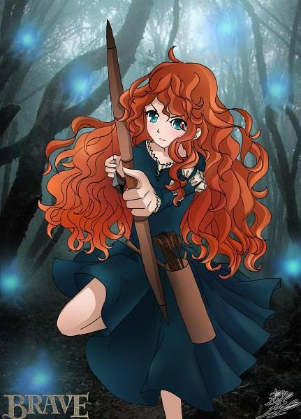 Tags: Anime, Pixiv Id 3281121, Brave (Disney), Princess Mérida, Aiming At Camera, Fanart, Mobile Wallpaper, Fanart From Pixiv, Pixiv