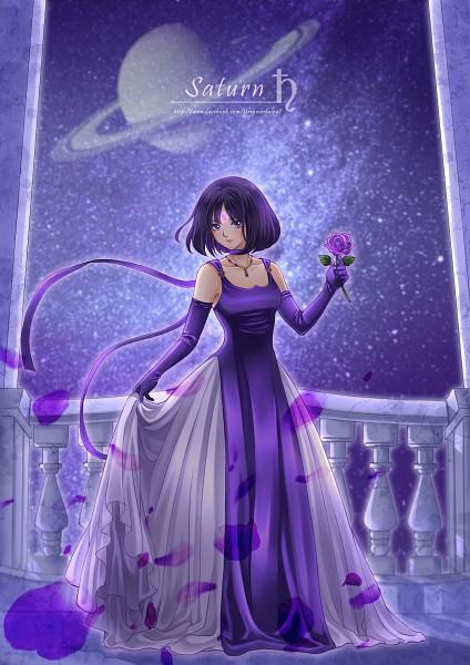 Tags: Anime, Koya, Bishoujo Senshi Sailor Moon, Tomoe Hotaru, Princess Saturn, Column, Purple Gloves, Saturn, Saturn Symbol, Gown, Purple Handwear, Fanart, Pixiv