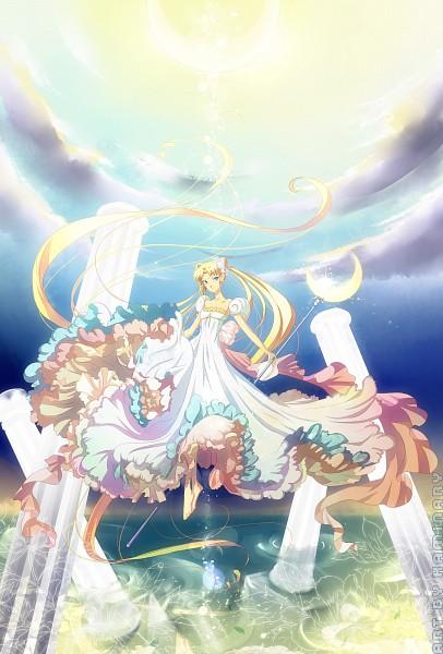 Tags: Anime, Kaminary, Bishoujo Senshi Sailor Moon, Tsukino Usagi, Princess Serenity, Ripples, Moon Stick, Silver Millenium, Column, Silver Crystal, Fanart From DeviantART, deviantART, Mobile Wallpaper