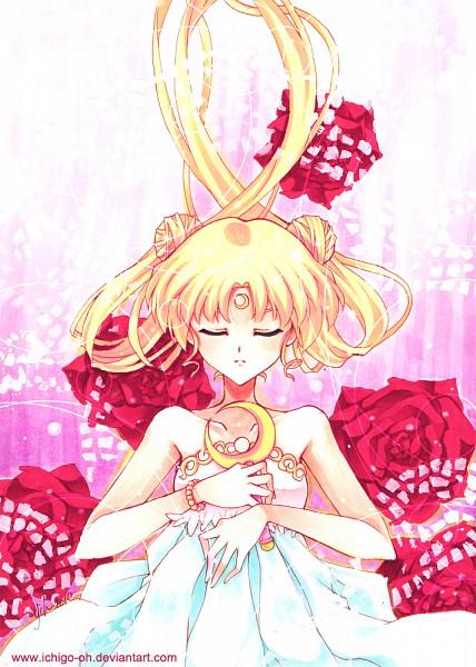 Tags: Anime, Ichigo-oh, Bishoujo Senshi Sailor Moon, Princess Serenity, Tsukino Usagi, Silver Crystal, Moon Stick, Mobile Wallpaper, Traditional Media, Copics