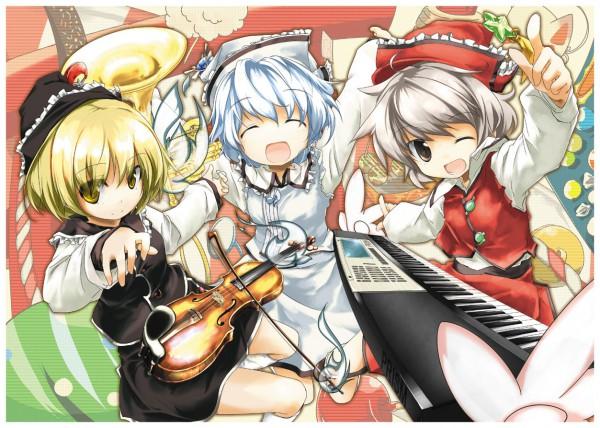 Tags: Anime, Sanoharu, Touhou, Merlin Prismriver, Lyrica Prismriver, Lunasa Prismriver, Keyboard (Instrument), Fanart, Prismriver Sisters