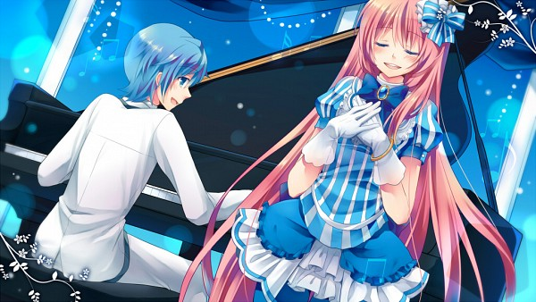 Tags: Anime, Shinyae, Project DIVA 2nd, VOCALOID, Megurine Luka, KAITO, Vertical-striped Dress, Facebook Cover, Project DIVA Fraulein, Project DIVA White Blazer, Wallpaper