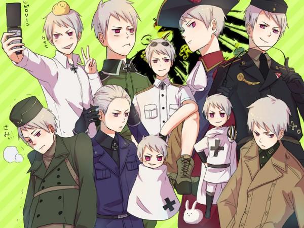 Tags: Anime, Coppun, Axis Powers: Hetalia, Gilbird, Teutonic Order, Prussia, Trembling, Iron Cross, Germany (Cosplay), Taking A Photo, Fanart, Pixiv