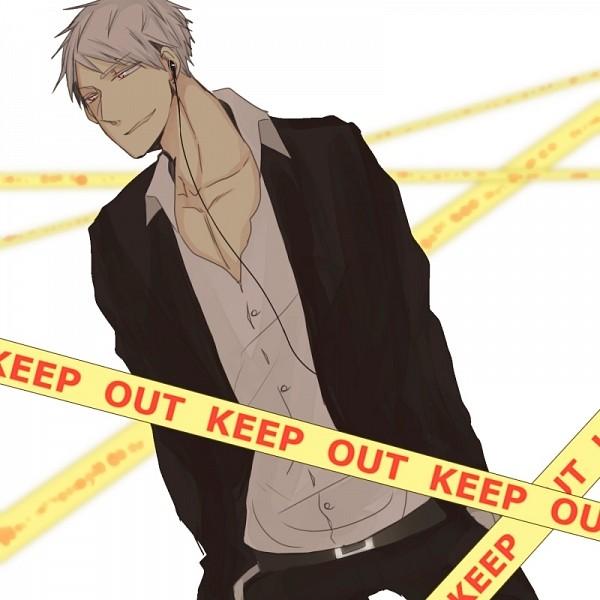 Tags: Anime, Pixiv Id 4201849, Axis Powers: Hetalia, Prussia, Earbuds, Crime Scene Tape, Pixiv