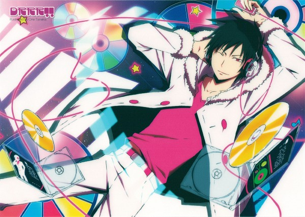 Tags: Anime, Orie Tanaka, Brains Base (Studio), DURARARA!!, Psyche, Orihara Izaya, ;3, Hand on Headphones, CD (Object), Covering Ears, Scan, Wallpaper, Official Art
