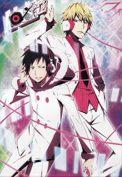 Tags: Anime, Brains Base (Studio), DURARARA!!, Psyche, Orihara Izaya, Delic, Heiwajima Shizuo, iPod, Official Art, Scan, Mobile Wallpaper, Psychedelic Dreams