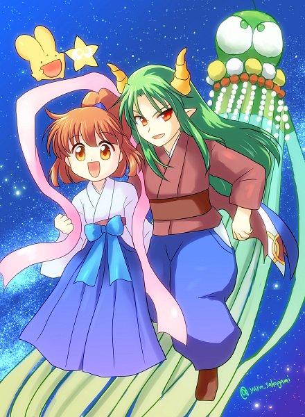 Tags: Anime, Pixiv Id 215454, Puyo Puyo, Carbuncle (Puyo Puyo), Arle Nadja, Satan (Puyo Puyo), SatArle