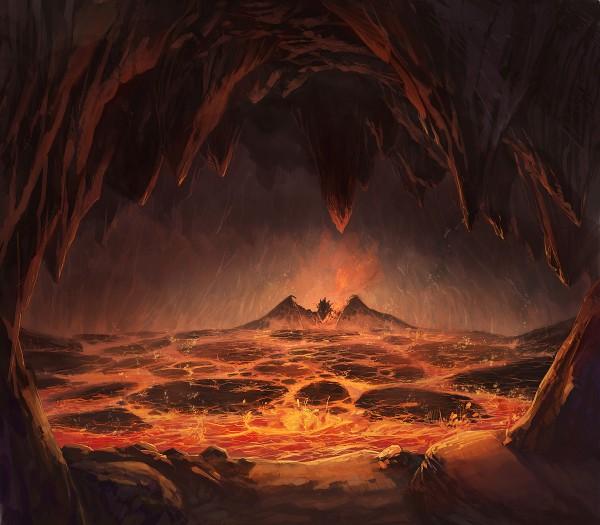 Tags: Anime, Puyoakira, Cave, Hell, Lava, Original, Pixiv