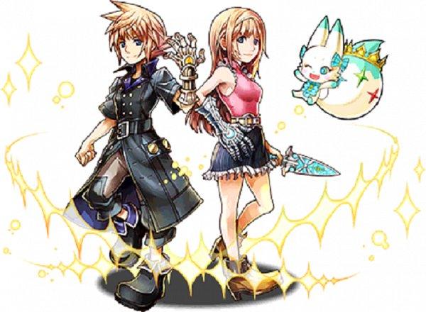 Tags: Anime, Nomura Tetsuya, SQUARE ENIX, World of Final Fantasy, Puzzle & Dragons, Lann (WOFF), Tama (WOFF), Reynn (WOFF), Upscale, Official Art