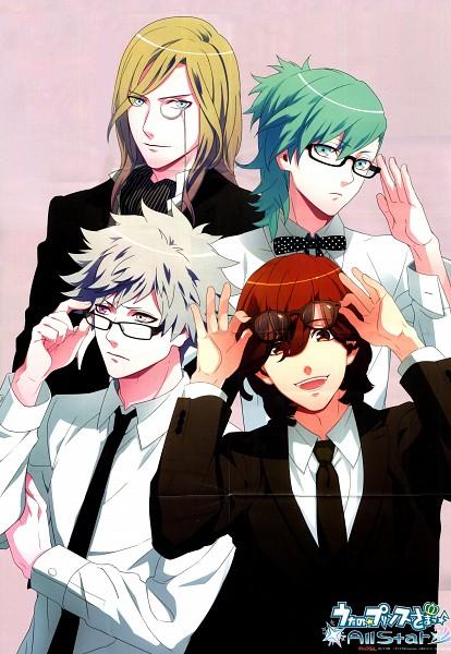 Tags: Anime, Uta no☆prince-sama♪, Kurosaki Ranmaru, Mikaze Ai, Kotobuki Reiji, Camus (Utapri), Official Art, Scan, Mobile Wallpaper, Quartet Night