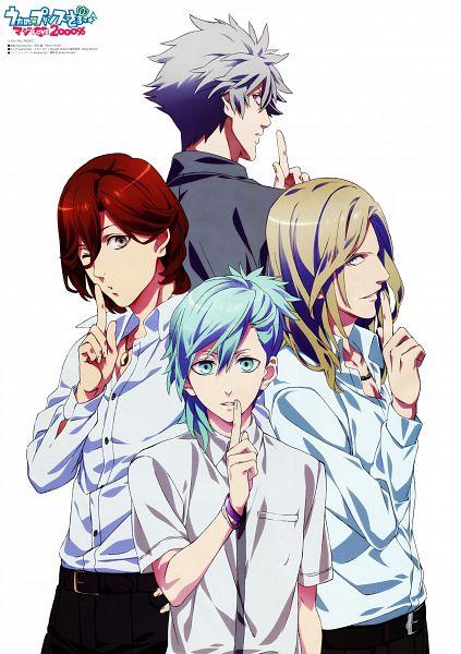 Tags: Anime, A-1 Pictures, Uta no☆prince-sama♪, Kotobuki Reiji, Camus (Utapri), Kurosaki Ranmaru, Mikaze Ai, Scan, Mobile Wallpaper, Official Art, Quartet Night