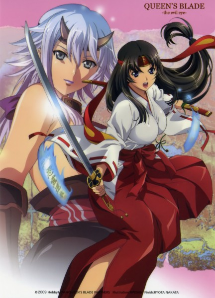 Tags: Anime, Rin Sin, ARMS (Studio), Queen's Blade, Tomoe (Queen's Blade), Shizuka (Queen's Blade), Official Art