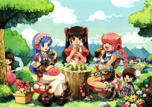 Tags: Anime, RAGNARÖK ONLINE, Poring, Super Novice, Swordsman (Ragnarok Online), High Priestess, Heart Ribbon Hairband, Picnic, Character Request, Artist Request, First Class