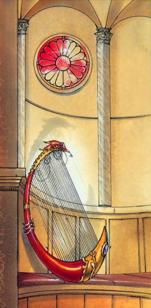 Tags: Anime, CLAMP, RG Veda, Column, Round Window, Kikumon, Harp, Official Art, Scan