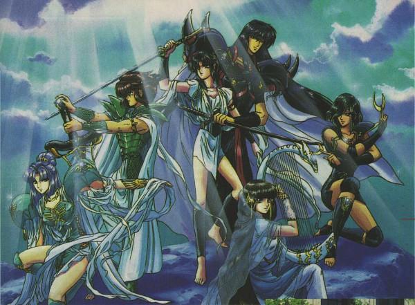 Tags: Anime, CLAMP, RG Veda, Kendappa-ou, Karura-ou, Yasha-ou, Souma (RG Veda), Ashura (RG Veda), Ryuu-ou, Scale, Broadsword, Shuriken, Harp