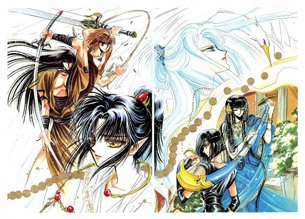 Tags: Anime, CLAMP, RG Veda, Karura-ou, Yasha-ou, Ashura (RG Veda), Souma (RG Veda), Kendappa-ou, Ryuu-ou, Shuriken, Broadsword, Harp, Scan