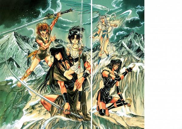 Tags: Anime, CLAMP, RG Veda, Ashura (RG Veda), Souma (RG Veda), Ryuu-ou, Karura-ou, Yasha-ou, Shuriken, Scan, Official Art