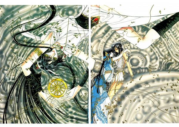 Tags: Anime, CLAMP, RG Veda, Kendappa-ou, Souma (RG Veda), Ashura (RG Veda), Coin (Fashion), Wheel, Scan, Official Art