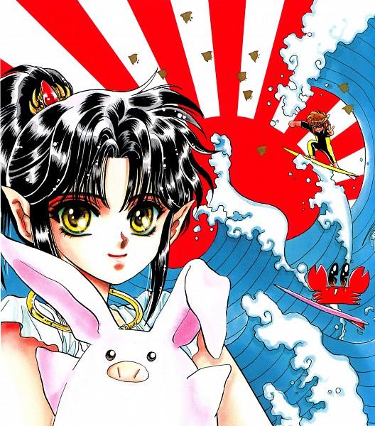 Tags: Anime, CLAMP, RG Veda, Ryuu-ou, Ashura (RG Veda), Waves, Rising Sun Motif, Crab, Surfing, Official Art, Scan