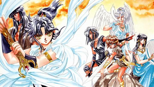 Tags: Anime, CLAMP, RG Veda, Ashura (RG Veda), Kendappa-ou, Souma (RG Veda), Karura-ou, Ryuu-ou, Karyoubinga (RG Veda), Yasha-ou, Brown Shirt, Harp, Broadsword