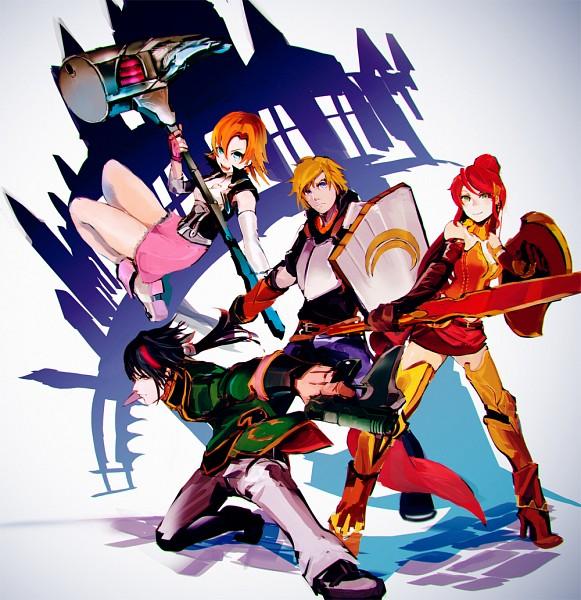 Tags: Anime, So-bin, RWBY, Nora Valkyrie, Jaune Arc, Lie Ren, Pyrrha Nikos, Heart Cleavage Cutout, Pixiv, Fanart, Fanart From Pixiv