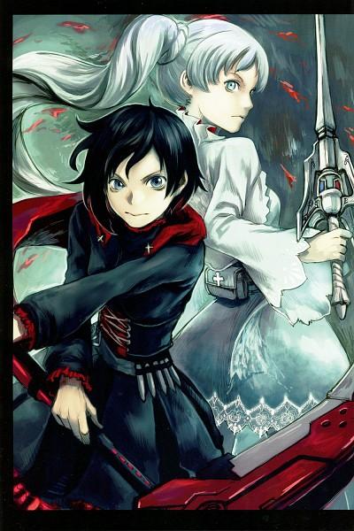Tags: Anime, Yoshitoshi Abe, RWBY, RWBY Volume 1 Official Japanese Fan Book, Weiss Schnee, Ruby Rose, Rapier, Lace Trim, Fanart, Comic Market 87, Comic Market, Mobile Wallpaper, Scan